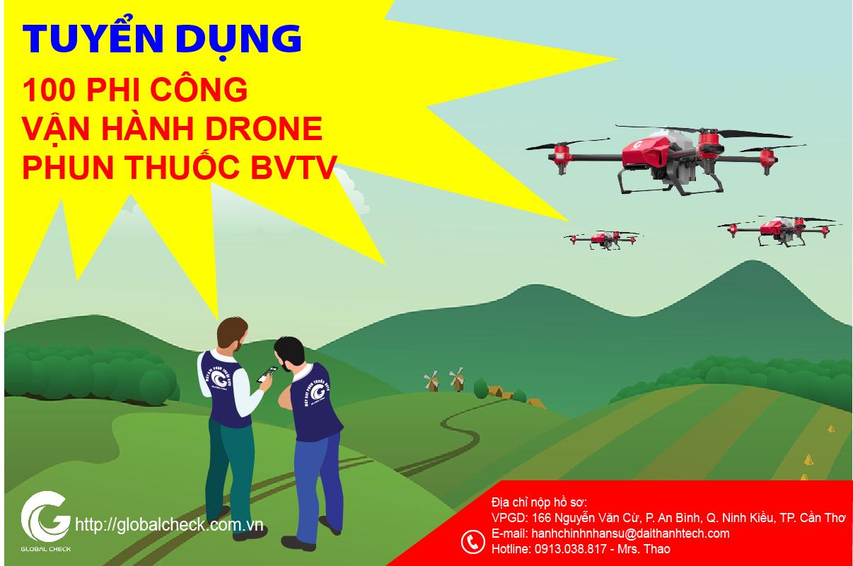 """PHI CÔNG VẬN HÀNH DRONE PHUN THUỐC BVTV – NGHỀ """"HOT"""" NHIỀU CƠ HỘI CHO BẠN TRẺ"""